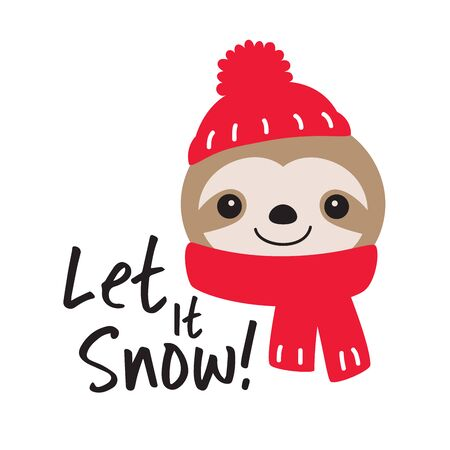 Vector illustration of cute sloth wearing red winter hat and scarf. Christmas holiday sloth.