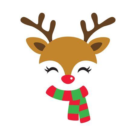 Illustration vectorielle du visage mignon de renne portant une écharpe de Noël rouge et verte.