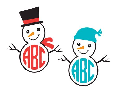 Cute snowman wearing winter hat and scarf monogram frame vector illustration.