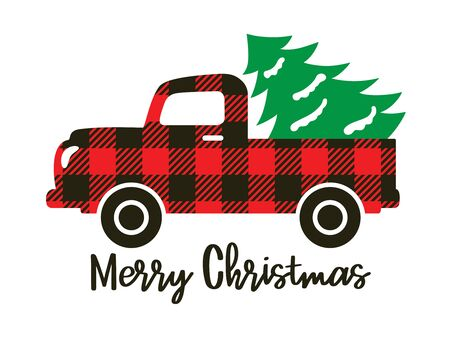 Cute truck with red buffalo plaid pattern carrying a Christmas tree vector illustration.  イラスト・ベクター素材