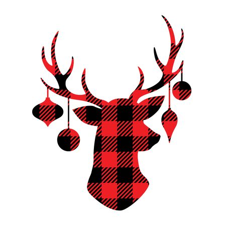 Reindeer with Christmas ornaments hanging from the antlers. Christmas buffalo plaid reindeer vector illustration.  イラスト・ベクター素材