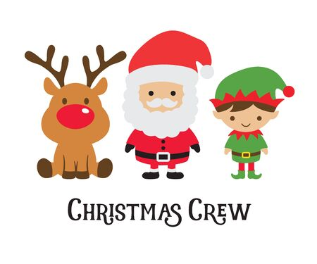 Cute Christmas crew including Santa Claus, elf, and reindeer vector illustration.  イラスト・ベクター素材