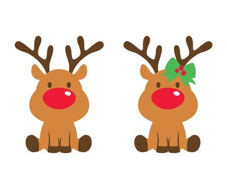Vector illustration of cute baby reindeer.