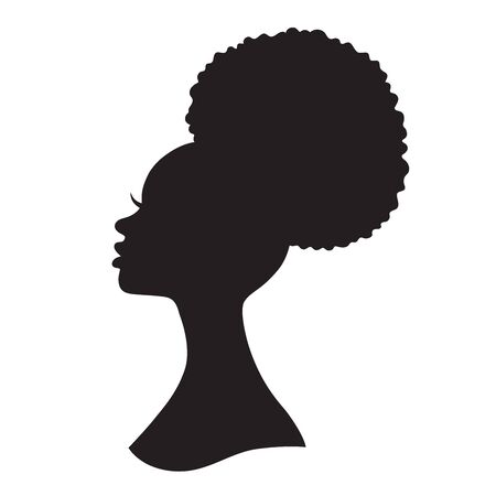 Black woman with puff drawstring ponytail silhouette. Vector illustration of African American woman profile with afro ponytail hairstyle.