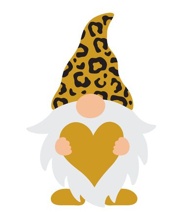 Vector illustration of a gnome with leopard pattern hat holding a here. Cute Valentine's Day gnome.