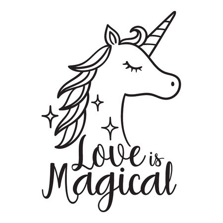 Love is Magical Unicorn Head Vector Illustration. Unicorn Face Side View.