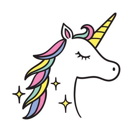 Vector illustration of unicorn head side view.  イラスト・ベクター素材