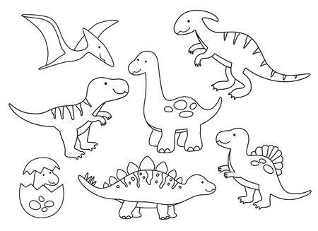 Vector illustration of black and white dinosaur outline drawing set.