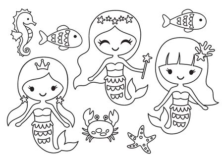 Vector illustration of black and white mermaid and fish outline for coloring.