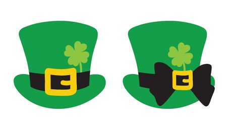 Vector illustration of leprechaun green top hat with clover for St. Patrick's Day.