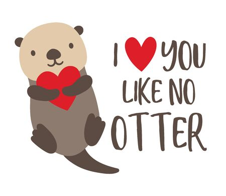 Vector illustration of cute sea otter floating in the water and holding a heart.  イラスト・ベクター素材