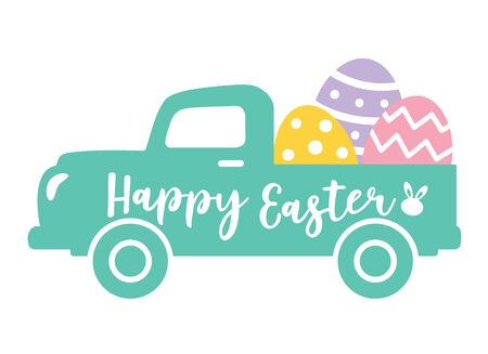 Vector illustration of a cute vintage truck carrying Easter eggs.  イラスト・ベクター素材