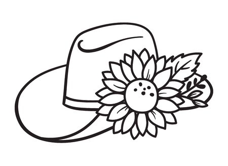 Cowboy hat with decorative flower or sunflower vector illustration.  イラスト・ベクター素材