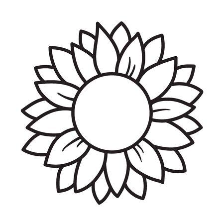 Black and white outlined sunflower round frame vector illustration.  イラスト・ベクター素材