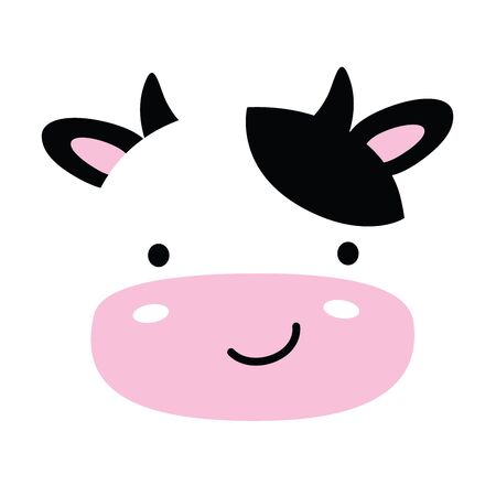 Cute baby cow face vector illustration.  イラスト・ベクター素材