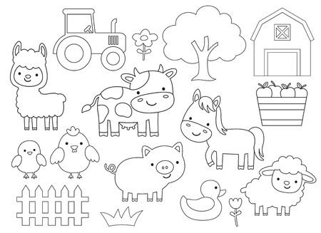 Outline vector illustration of farm animals including cow, horse, pig, chicken, duck, sheep, lamb, llama. Barn animals line art for coloring.