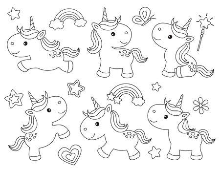 Outline cute unicorns for coloring. Unicorns line art vector illustration.