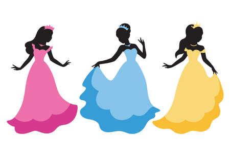 Vector illustration of long haired princess black silhouette in princess costume.  イラスト・ベクター素材