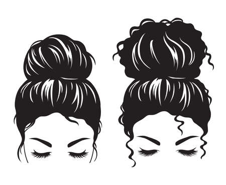 Silhouette image of a woman face with messy hair bun and long eyelashes vector illustration.