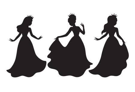 Princess in formal dress silhouette image vector illustration.