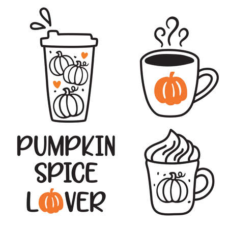 Vector illustration of pumpkin spice latte coffee cup doodles. Fall season hot coffee drinks.  イラスト・ベクター素材