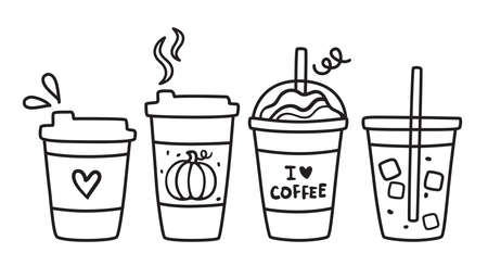 Cute vector illustration of hot and iced coffee to go cup doodle.