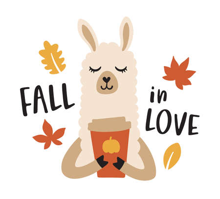 Vector illustration of a llama or alpaca drinking a pumpkin spice latte coffee to go during fall season.  イラスト・ベクター素材