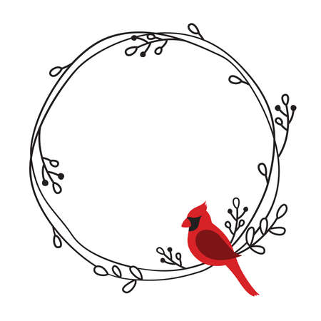 Vector illustration of a red cardinal bird on a round doodle wreath frame.