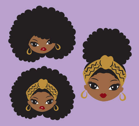 Cute African American black girl with natural afro hair and head wrap vector illustration.