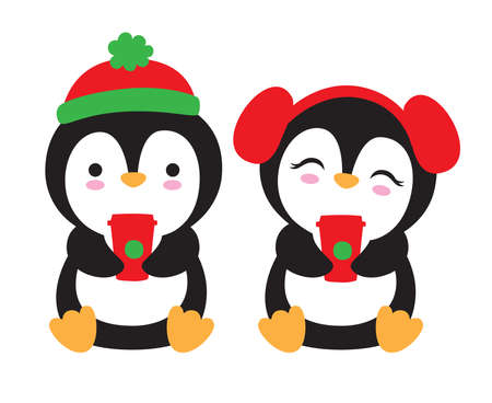Cute Christmas penguins with hat and earmuffs holding holiday to go coffee drinks vector illustration.