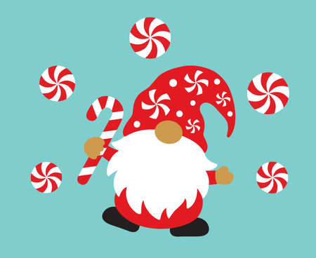 Cute holiday Christmas gnome holding a peppermint candy cane vector illustration.  イラスト・ベクター素材