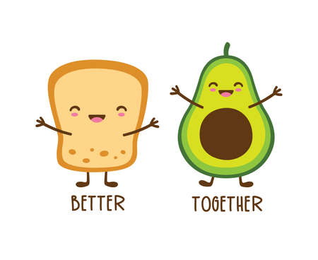 Cute smiling best friend avocado and toast cartoon with face vector illustration.  イラスト・ベクター素材