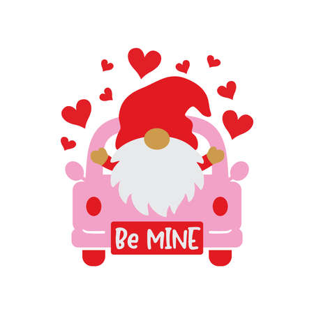 Vector illustration of Valentine's day gnome on a truck with hearts.