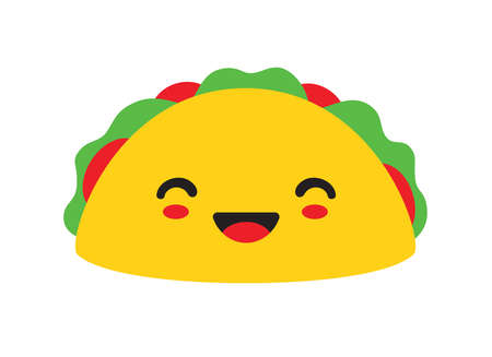Vector illustration of a cute smiling taco cartoon with happy faces.