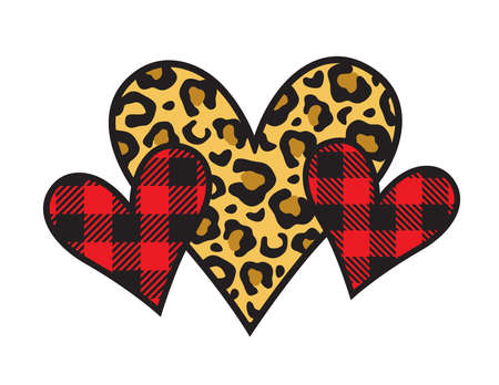 Three Valentine's day hearts with leopard print and buffalo plaid patterns vector illustration.