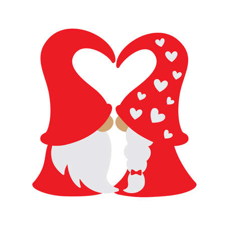 Vector illustration of Valentine's day gnome in red dress kissing.