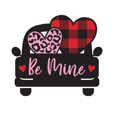 Vector illustration of Valentine's day truck with leopard print and buffalo plaid patterned hearts.