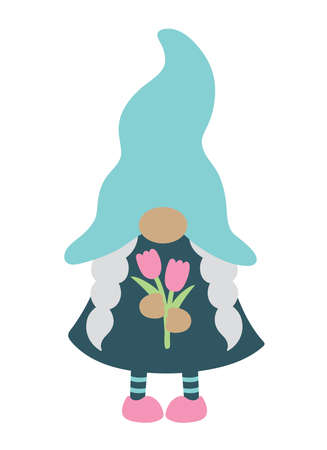Cute girl gnome with braids holding spring flowers vector illustration.
