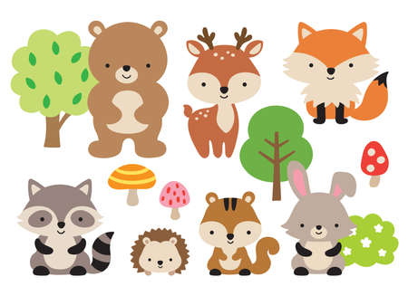 Vector illustration of cute woodland forest animals including a bear, deer, fox, raccoon, hedgehog, squirrel, and rabbit.  イラスト・ベクター素材