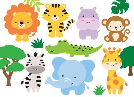 Vector illustration of safari jungle animals including a lion, tiger, hippo, monkey, zebra, crocodile, alligator, elephant, and giraffe.
