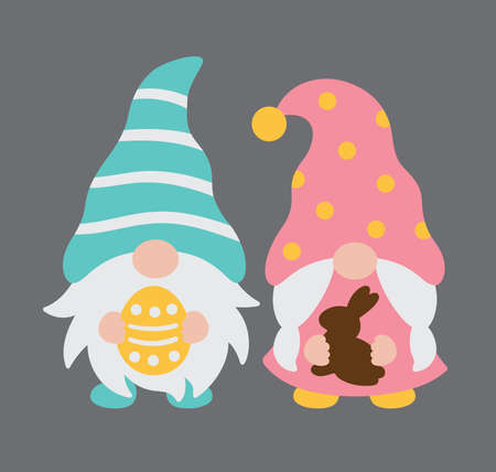 Vector illustration of cute boy and girl Easter gnome couple holding Easter egg and chocolate bunny.