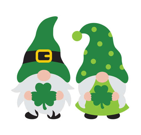 Vector illustration of a St. Patrick's day gnome boy and girl couple holding clover leaves.