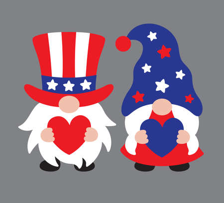Vector illustration of a 4th of July Independence day patriot gnome couple.  イラスト・ベクター素材