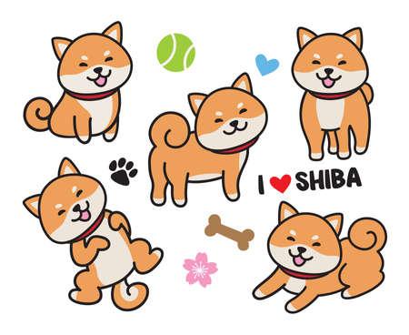 Cute shiba inu dog vector illustration set.