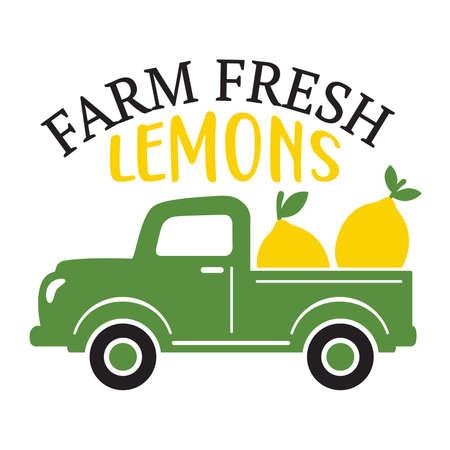 Vector illustration of a vintage truck carrying farm fresh lemons.