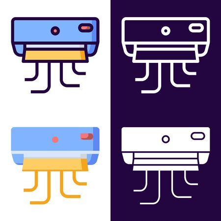 AC Air Conditioning Icon Set. filled outline, line, glyph, flat icons Çizim