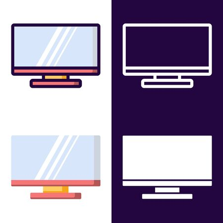 LCD Television Icon Set. filled outline, line, glyph, flat icons