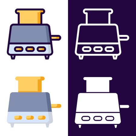 Bread Toaster Icon Set. filled outline, line, glyph, flat icons Vector Illustratie