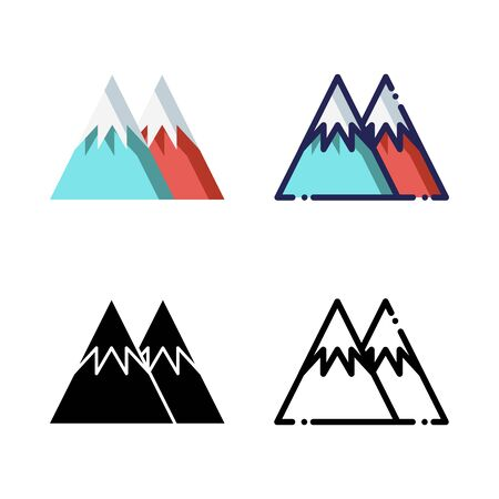 Mountains Icon Set Logo Winter Holidays. filled outline, line, glyph, flat icons Ilustrace