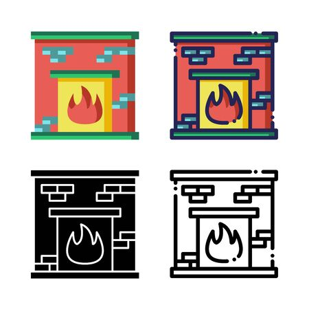 Fireplace Icon Set Logo Winter Holidays. filled outline, line, glyph, flat icons